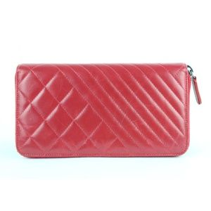Chanel Bags - Chanel Red Chevron Mix Quilted Boy Zip Around